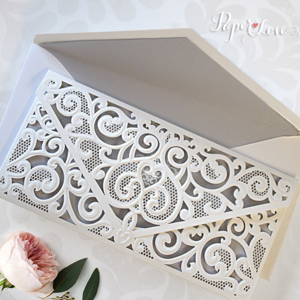 Stunning White Silver Laser Cut Embossed Pocket Silver Foil Wedding ...