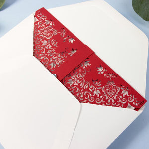 Red Cover Laser Cut Wedding Invitation with Heart DIY Paper Streamer LOVE