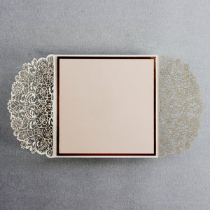 Square Gatefold Elegant Lace Invitations with Rose Gold Foil Border