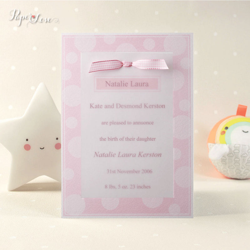Beautiful Birth Announcement Baptism Christening Invitation Parchment Embossed Pink Blue