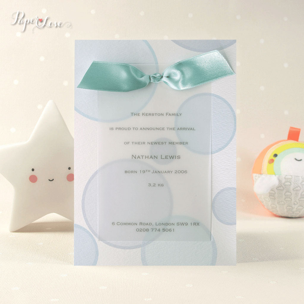 Beautiful Birth Announcement Card Invitation Baby Shower Baptism Bubbles Blue Lilac