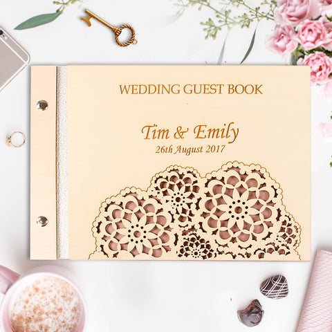 Brown Wooden Wedding Guest Book with Stylish Laser Cut Cover