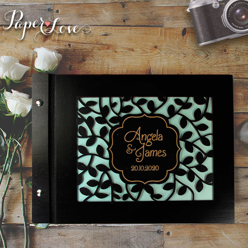 Wooden Wedding Guest Book with Stylish Laser Cut Cover Black Chocolate Natural Wood