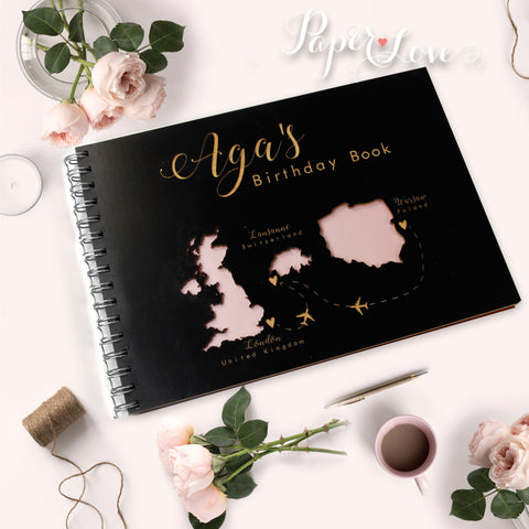 Beautiful Personalised Wooden Wedding Guest Book with Customised Map