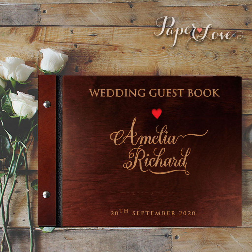 Elegant Brown Wooden Wedding Guest Book with Stylish Laser Cut Cover