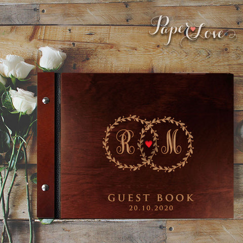 Rustic Recycling Craft Style Guest Book With Satin Ribbon Grey