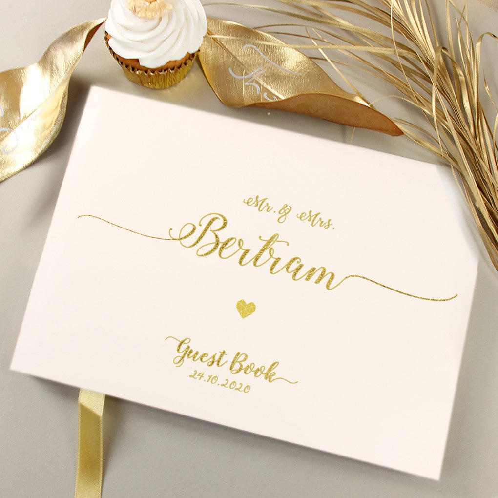 Beautiful Gold Foil Pressed Wedding Guest Book