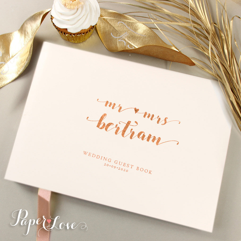 Elegant Rose Gold Foil Pressed Wedding Guest Book