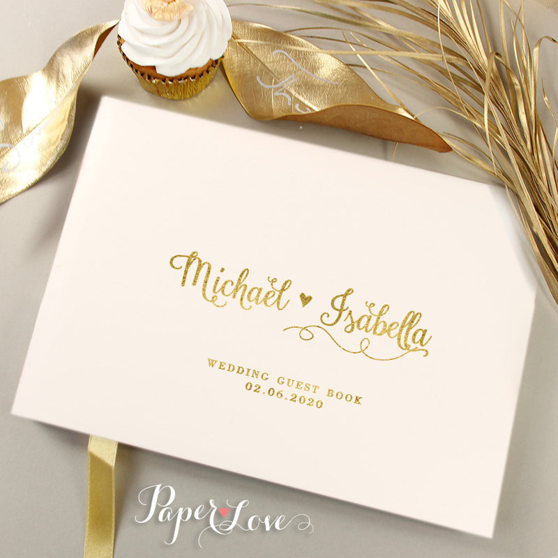 Amazing Gold Foil Pressed Wedding Guest Book