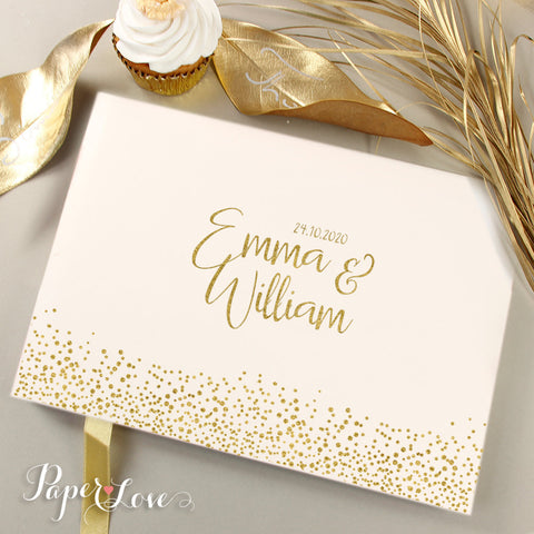 Mr&Mrs Gold Foil Pressed Wedding Guest Book