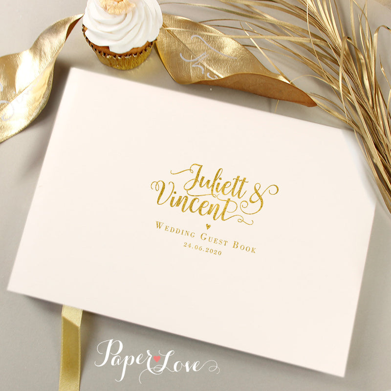 Luxurious Gold Foil Pressed Wedding Guest Book
