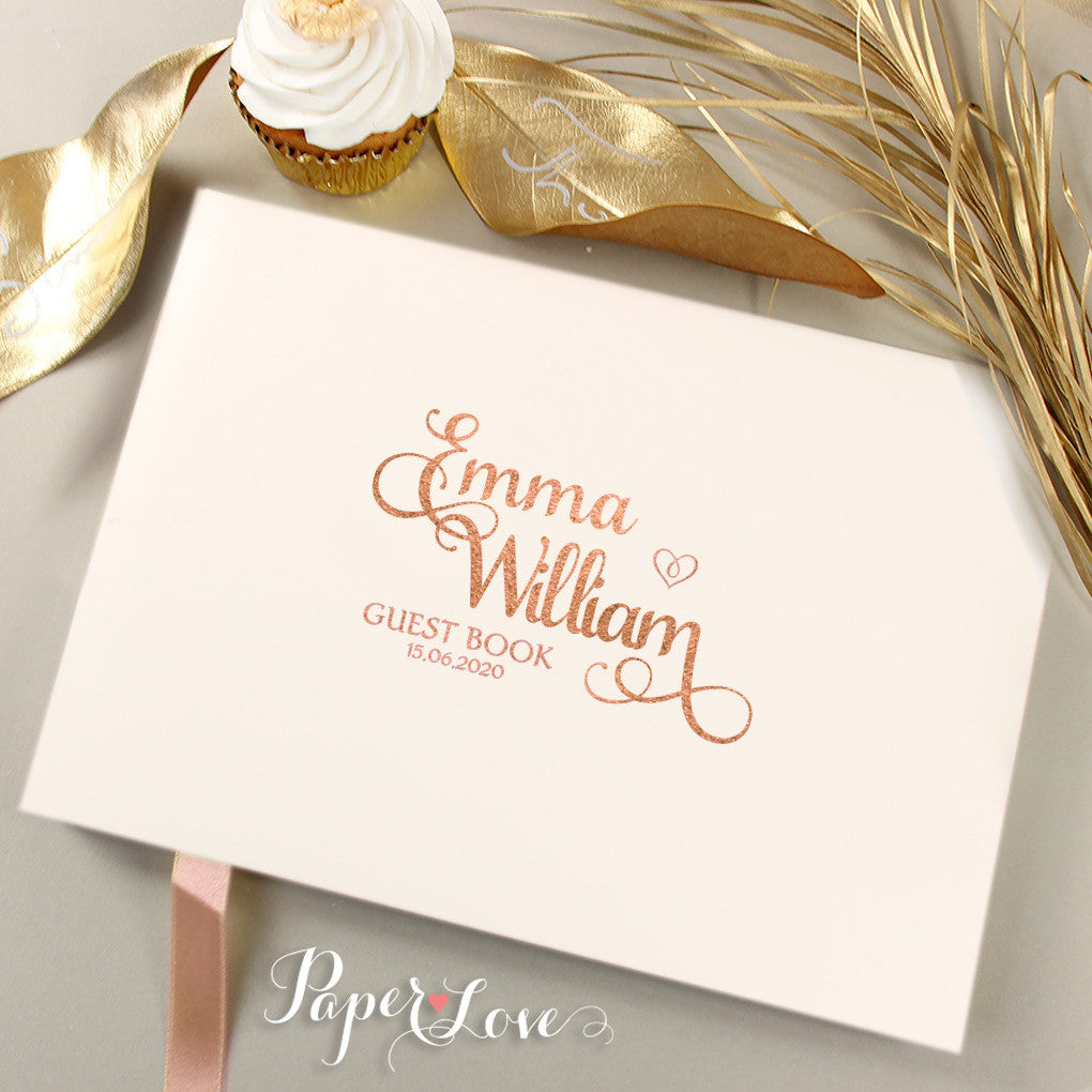 Beautiful Rose Gold Foil Pressed Wedding Guest Book