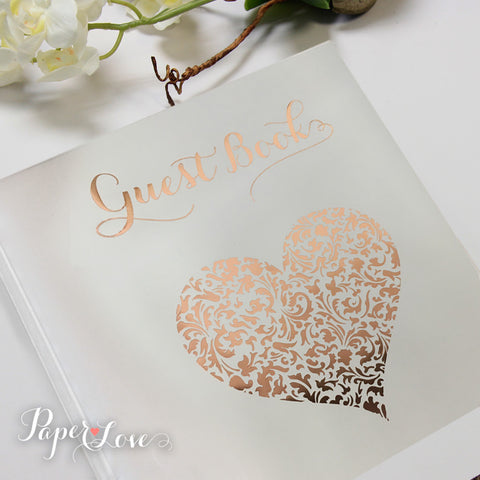 Alternative Brown Wooden Wedding Guest Book with Stylish Laser Cut Cover 30 Black or Cream Pages