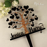 Large Personalised Wooden Love Tree Cake Topper Decoration Party Wedding