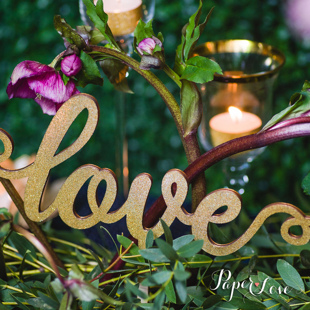 WOODEN CAKE TOPPER LOVE WEDDING BIRTHDAY
