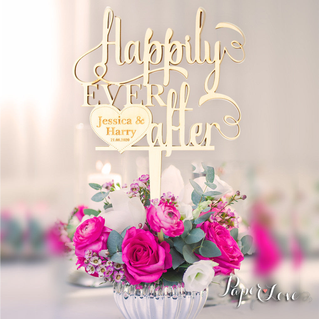 Happily Ever After Wooden Wedding Cake Topper Decoration Paper