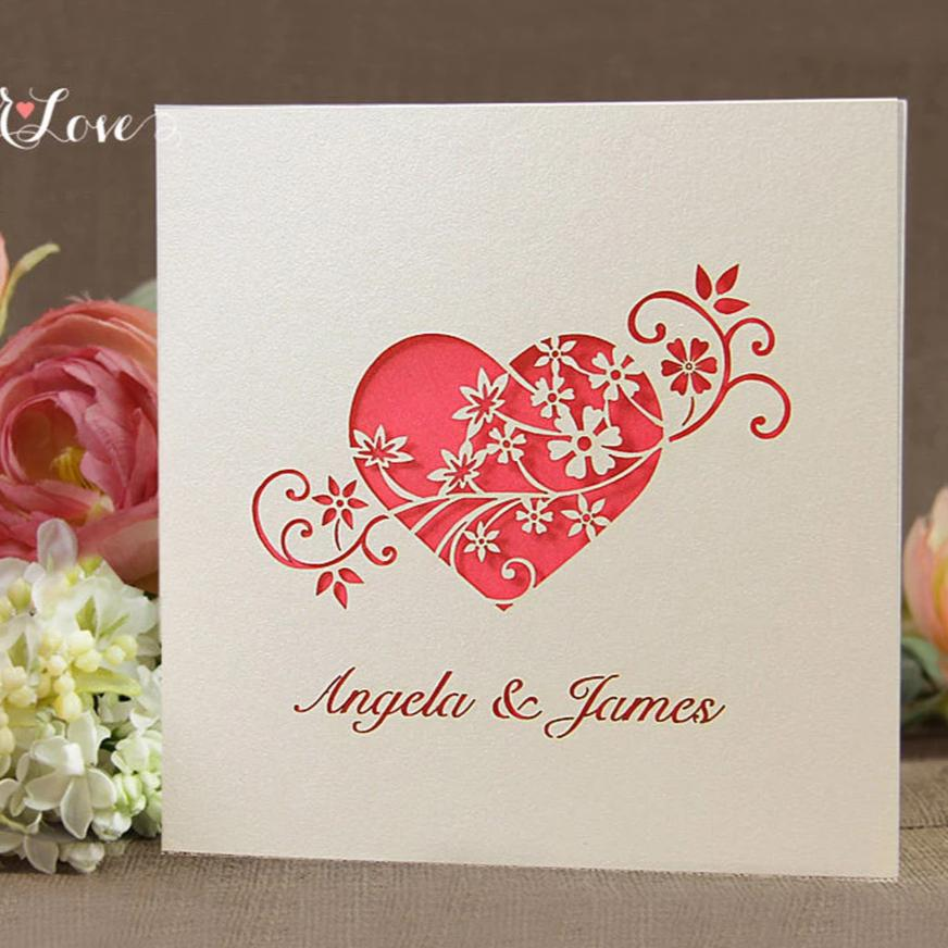 Laser Cut Heart Flower Wedding Invitation – Paper Love Cards