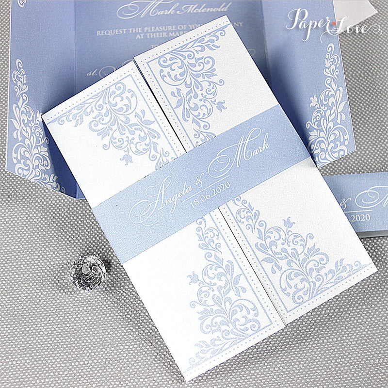 Light Blue Gatefold Wedding Day Invitation with Band High Quality