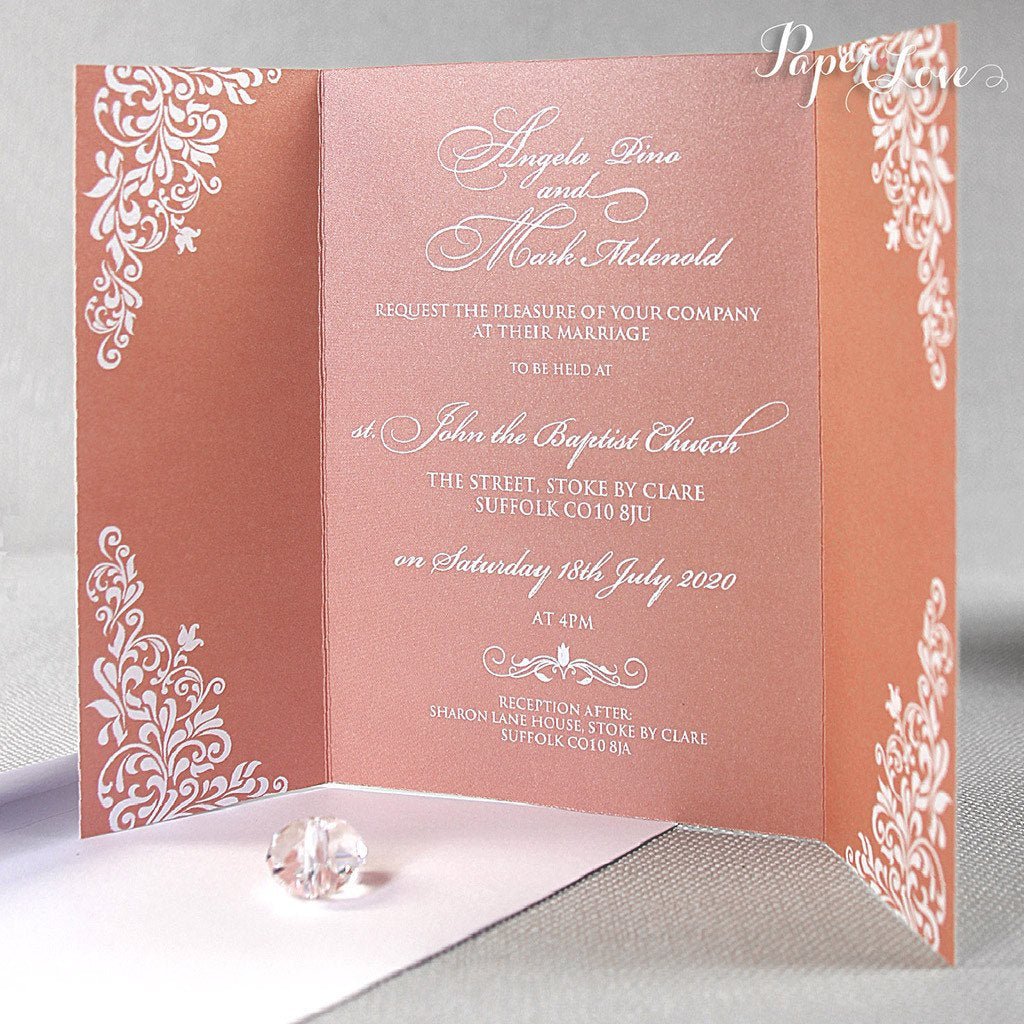 Gatefold Wedding Day Invitation with Band High Quality Colours Green ...
