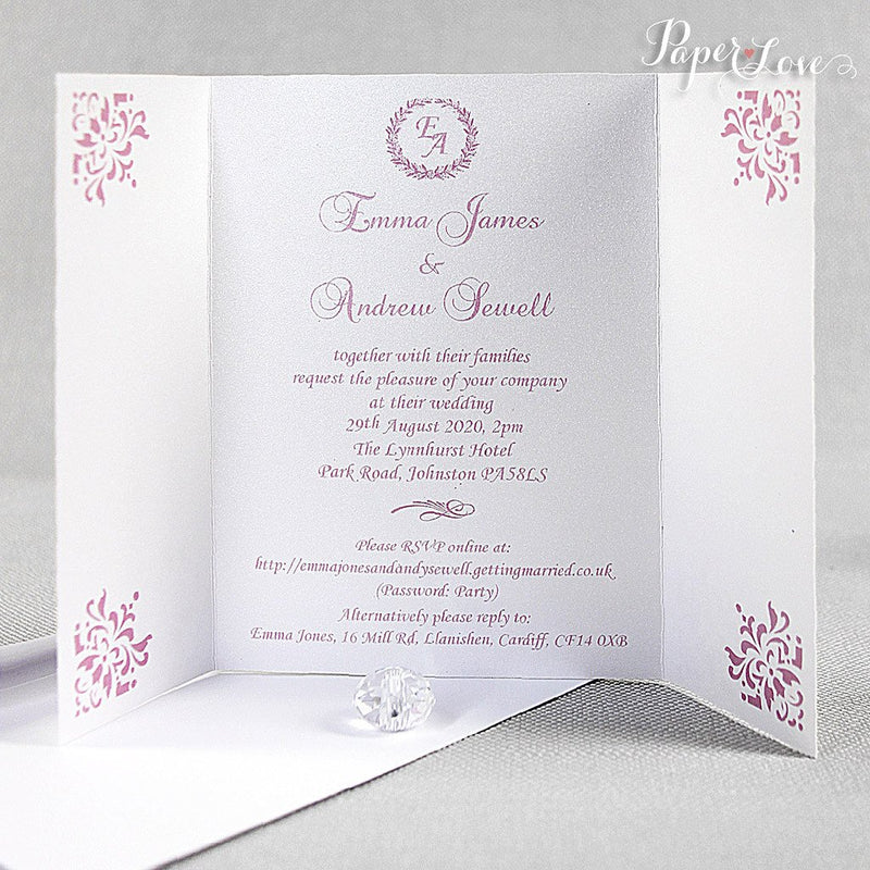 Ornamental Gatefold Wedding Day Invitation With Band And White Envelope Colours Bisquit Vintage Rose