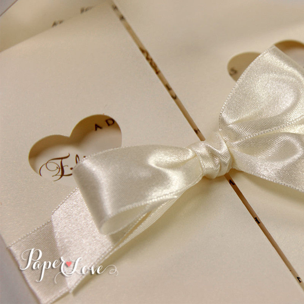 Wedding Invitations Day Heart Cream Gatefold Satin Ribbon Laser Cut ...