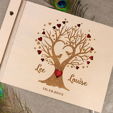 Beautiful Wooden Personalised Guest book Album