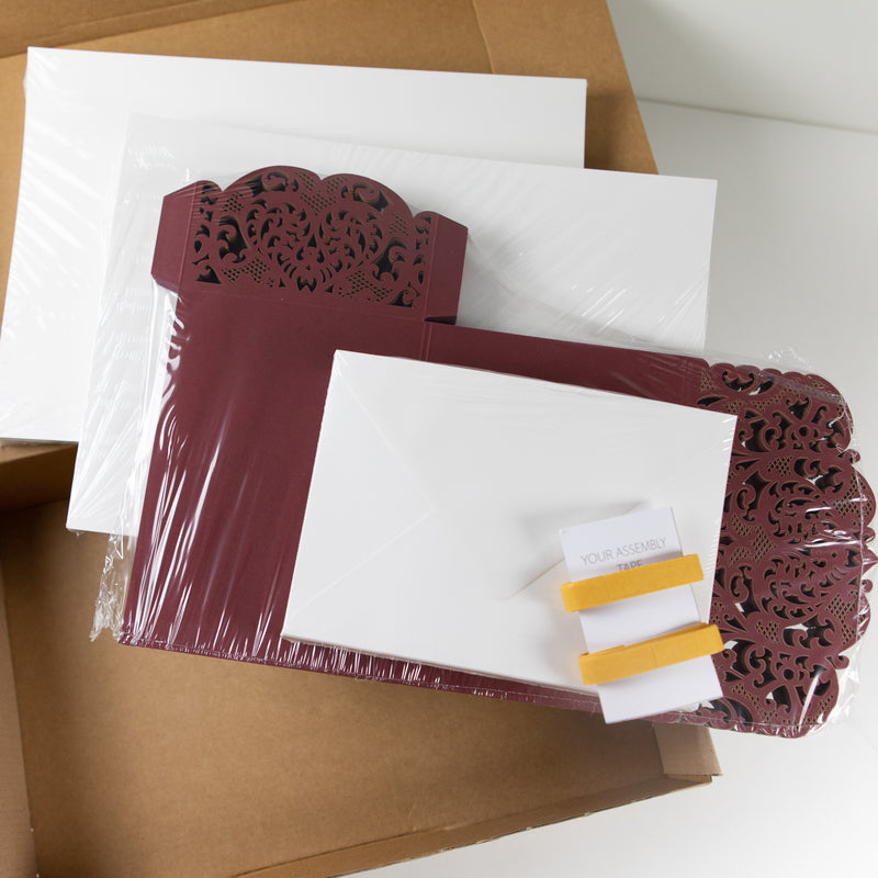 Burgundy Pocketfold Laser Cut Invitations for 4 inserts
