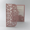 Pink Pocketfold Elegant Lace Floral Wedding Invitations