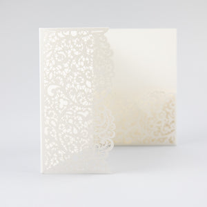 White Pocketfold Lace Floral Wedding Invitations