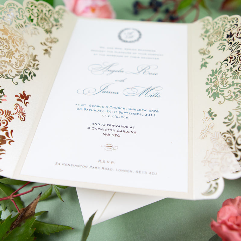 Creamy Classic Laser Cut DIY Wedding Invitation with Ribbon Envelpoes Template