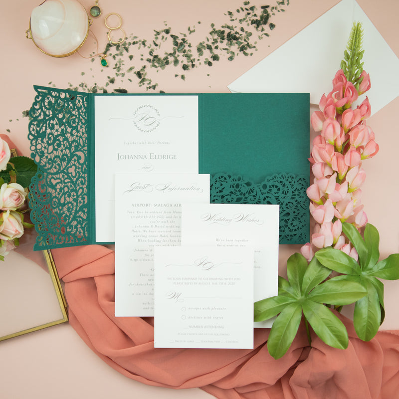 Forest Green Pocketfold Lace Floral Wedding Invitations