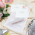 Place Card with laser cut lace pattern with pink belt