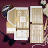 Golden Beige Art Deco Great Gatsby Laser Cut Gatefold Wedding Evening Invitation