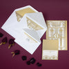 Golden Beige Art Deco Great Gatsby Laser Cut Gatefold Wedding RSVP/Save the Date /Thank You Card