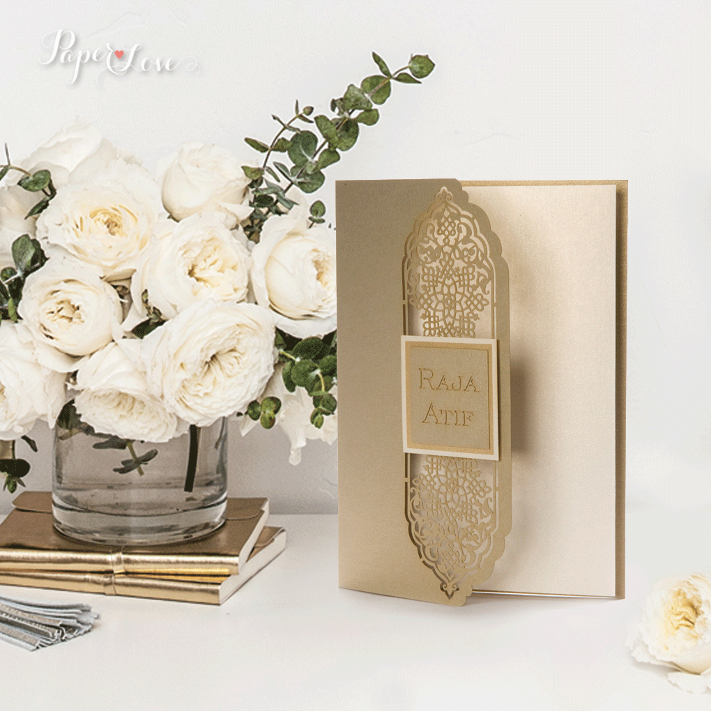 Elegant Gatefold Wedding Day Invitation Personalised Laser Cut Names On Cover