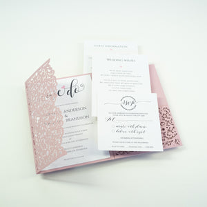 Misty Rose Pocketfold Lace Floral Wedding Invitations