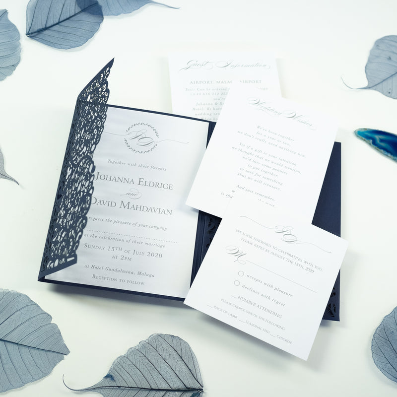 Navy Blue Pocketfold Lace Floral Wedding Invitations