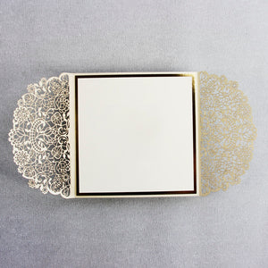 Cream Square Wedding Invitation Laser Cut Gatefold with Gold Foil Border