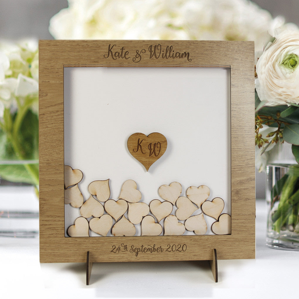 Personalised Wedding Guestbook Laser Cut, Square Wedding Heart Guestbook, Wedding Dropbox Natural Oak