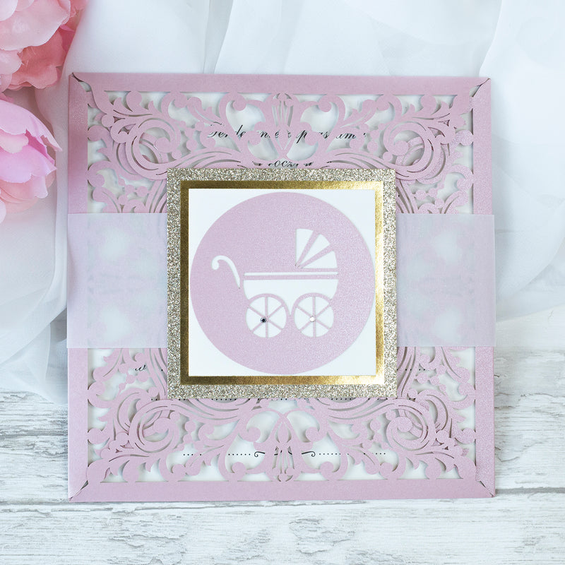 Beautiful Baby Shower, Baptism, Christening Laser Cut  Invitation Birth Announcement Pink- Baby Girl