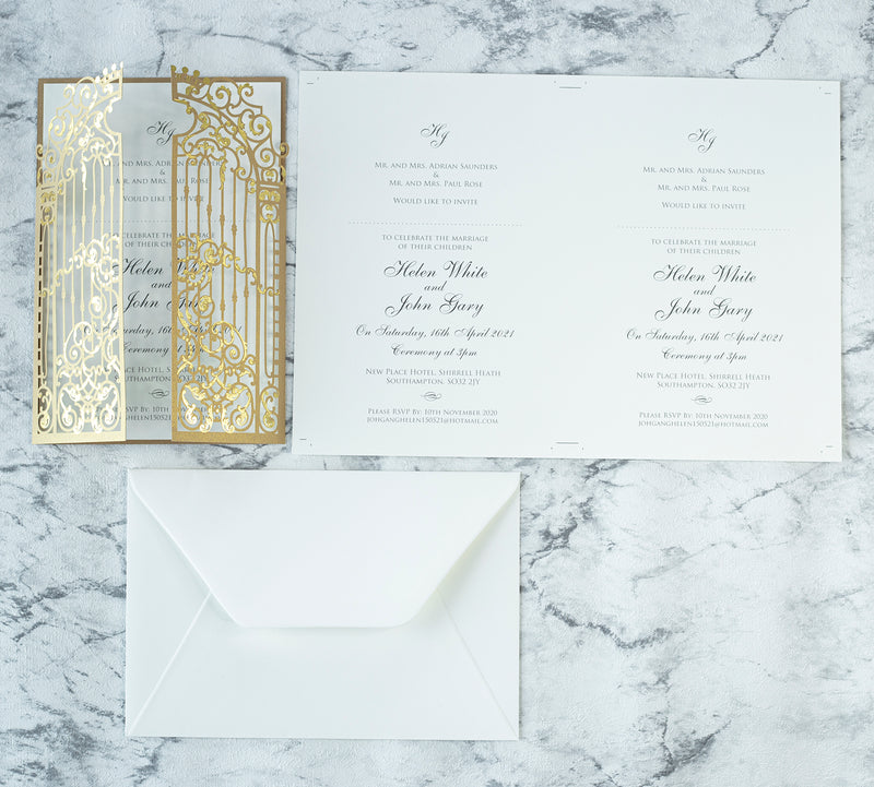 Personalised Elegant Gold Monogram Ornamental Gatefold Laser Cut Wedding Day Invitation with Gold Foil
