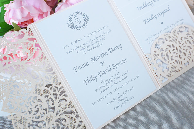 Peach Pocketfold Elegant Lace Floral Wedding Invitations