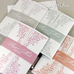 Peach Colour Gatefold Wedding Day Invitation with Band High Quality