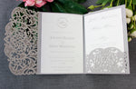 Grey Pocketfold Elegant Lace Floral Wedding Invitations