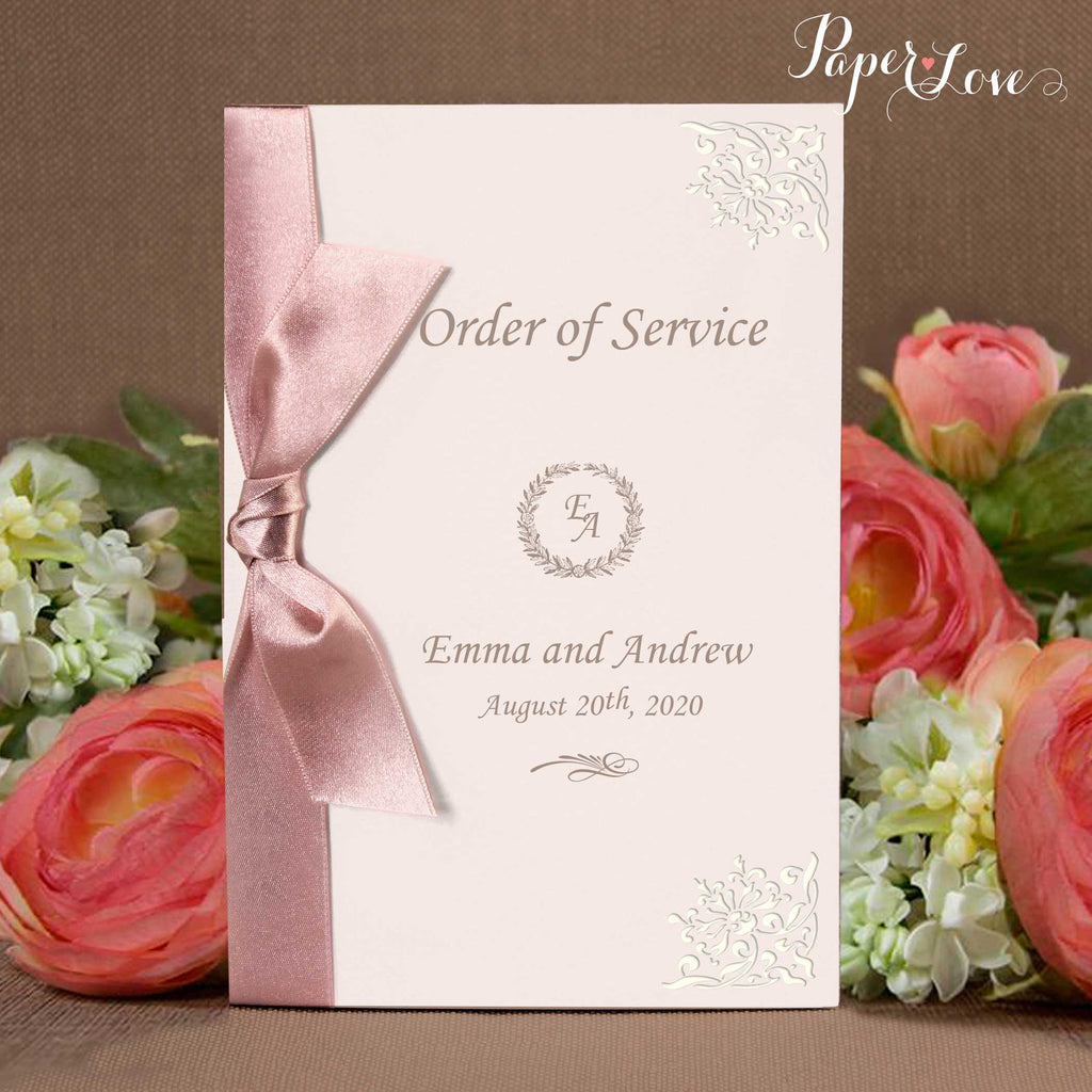 Beautiful Personalised Laser Cut Order of Service or Menu with Satin Ribbon