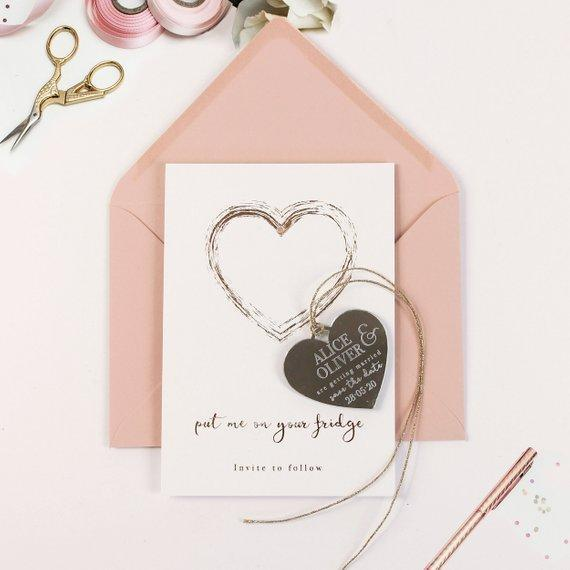 Save the Date Magnet Rose Gold Foil Heart Pressed Design Mirror Heart Engraved