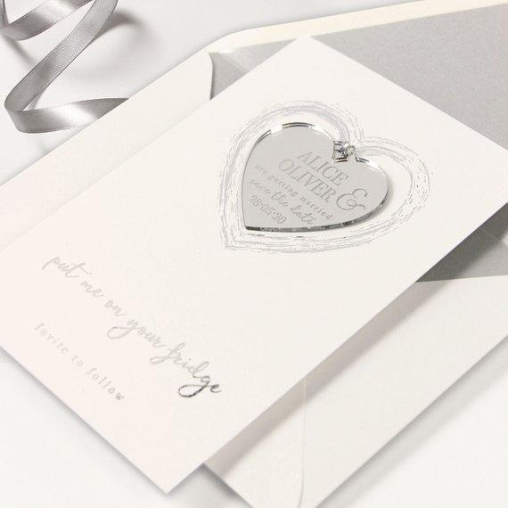 Save the Date Magnet Silver Foil Heart Pressed Design Mirror Heart Engraved