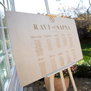 Engraved Wodden Personalised Table Plan in Rustic Style