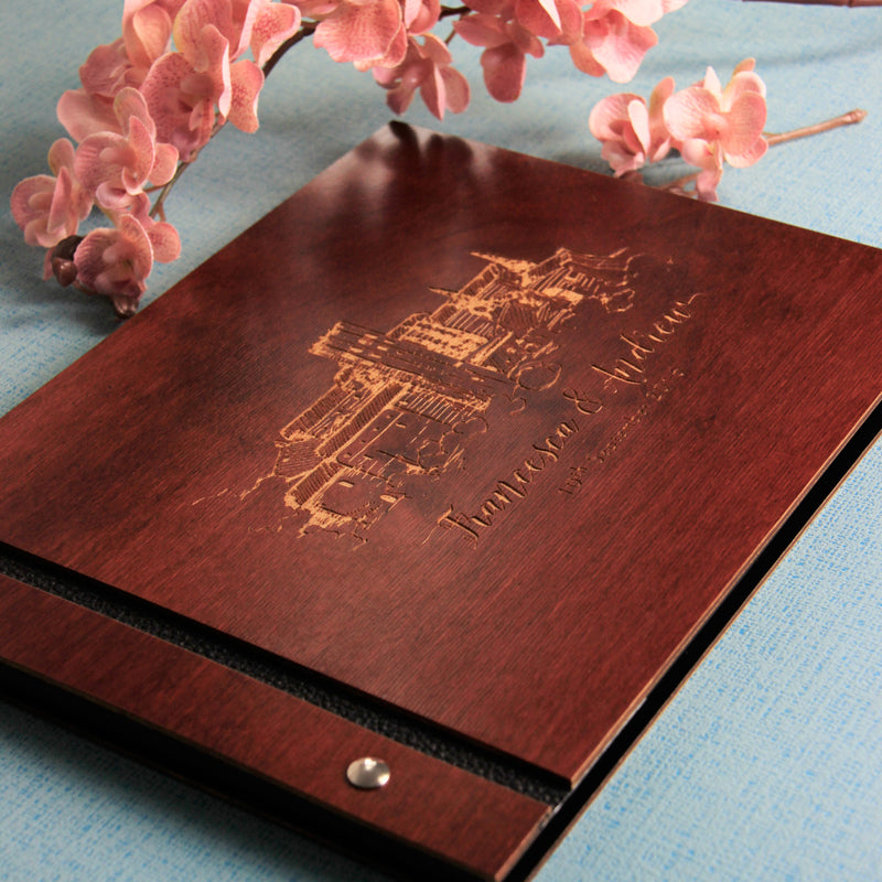 Personalised Wooden Wedding Guest Book with Wedding Venue