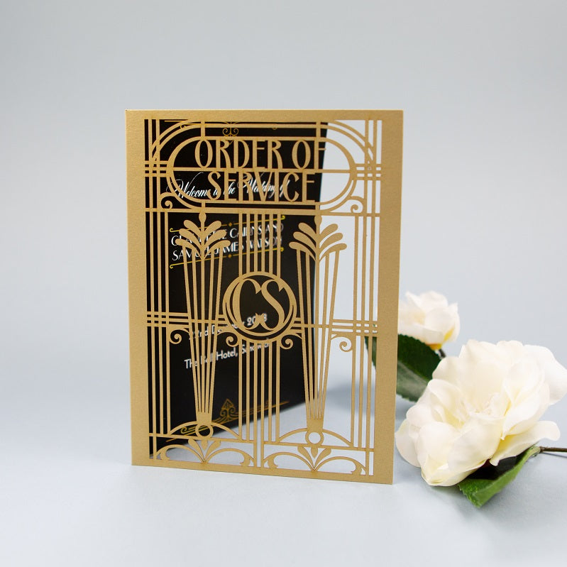 Golden Art Deco Great Gatsby Laser Cut Gatefold Order of Service